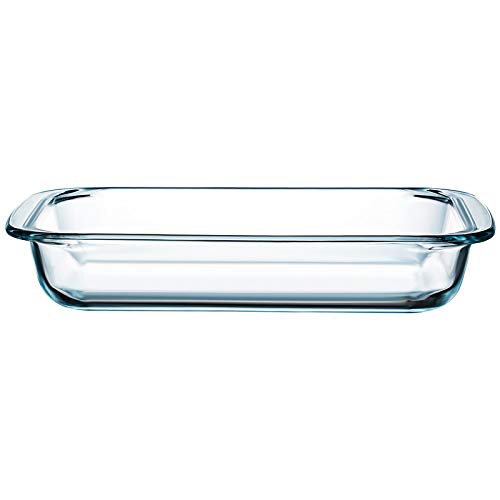 Clear Glass Baking Dish for Oven Glass Pan for Cooking Oblong Casserole Dish Rectangular Baking Pan Glass Bakeware,1 Piece (1.5 Quart)