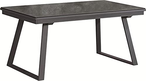 Meubletmoi - Mesa de comedor extensible 160/276 cm con bandeja de cerámica gris antracita y patas de trineo acampanadas de metal negro – Renzo