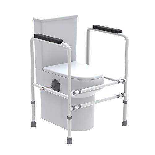Toilet Veiligheidsrail - Verstelbare Grab Bar - Compact draagframe met leuning voor badkamer toiletbril - Eenvoudige installatie voor Handicap Senior Bariatrics, Ouderlijk evenwicht - Gevoerde Hand Armsteun