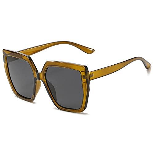 Gafas De Sol Hombre Mujeres Ciclismo Gafas De Sol Cuadradas De Moda para Mujer, Gafas De Sol Vintage para Mujer, Gafas Retro Grandes con Gradiente para Hombre, Color Dark_Yellow_Gray