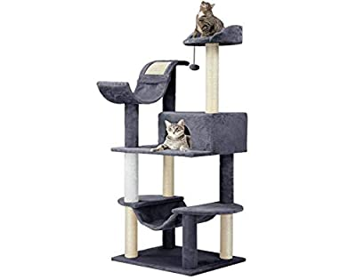 Finether Cat Tree Tower Scratcher Furniture Kitten Playhouse with Sisal Covered Scratching Posts Hammock Perches Platform and Dangling Ball by Finether