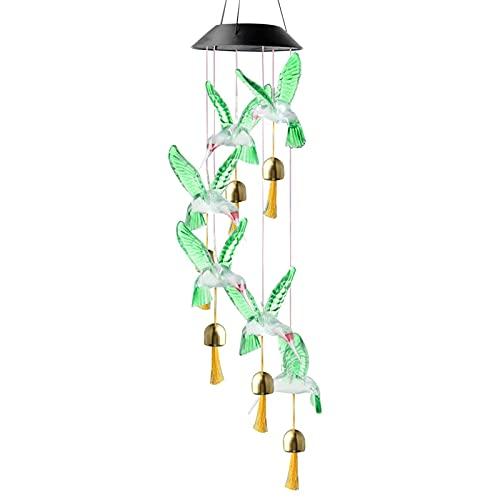 Baldosas de colibrí solar, LED, timbre de viento colgante móvil, cambia de color, resistente al agua a colibrí, para la fiesta de la casa, el patio, decoración