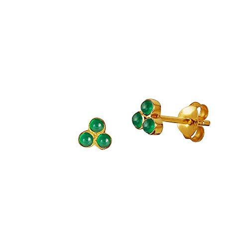 Pendientes de tuerca de ónix verde triángulo plateado chapado en oro
