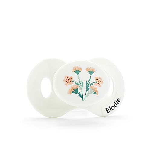 Elodie Details Ciuccio con Tettarella Ortodontica in Silicone per Neonato 0-6 Mesi - Meadow Flower, Bianco/Rosa
