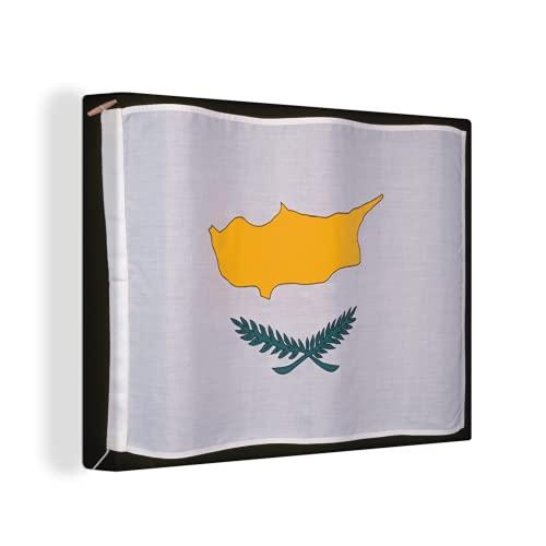 Leinwandbild - Die Flagge von Zypern auf einem schwarzen Hintergr& - 40x30 cm