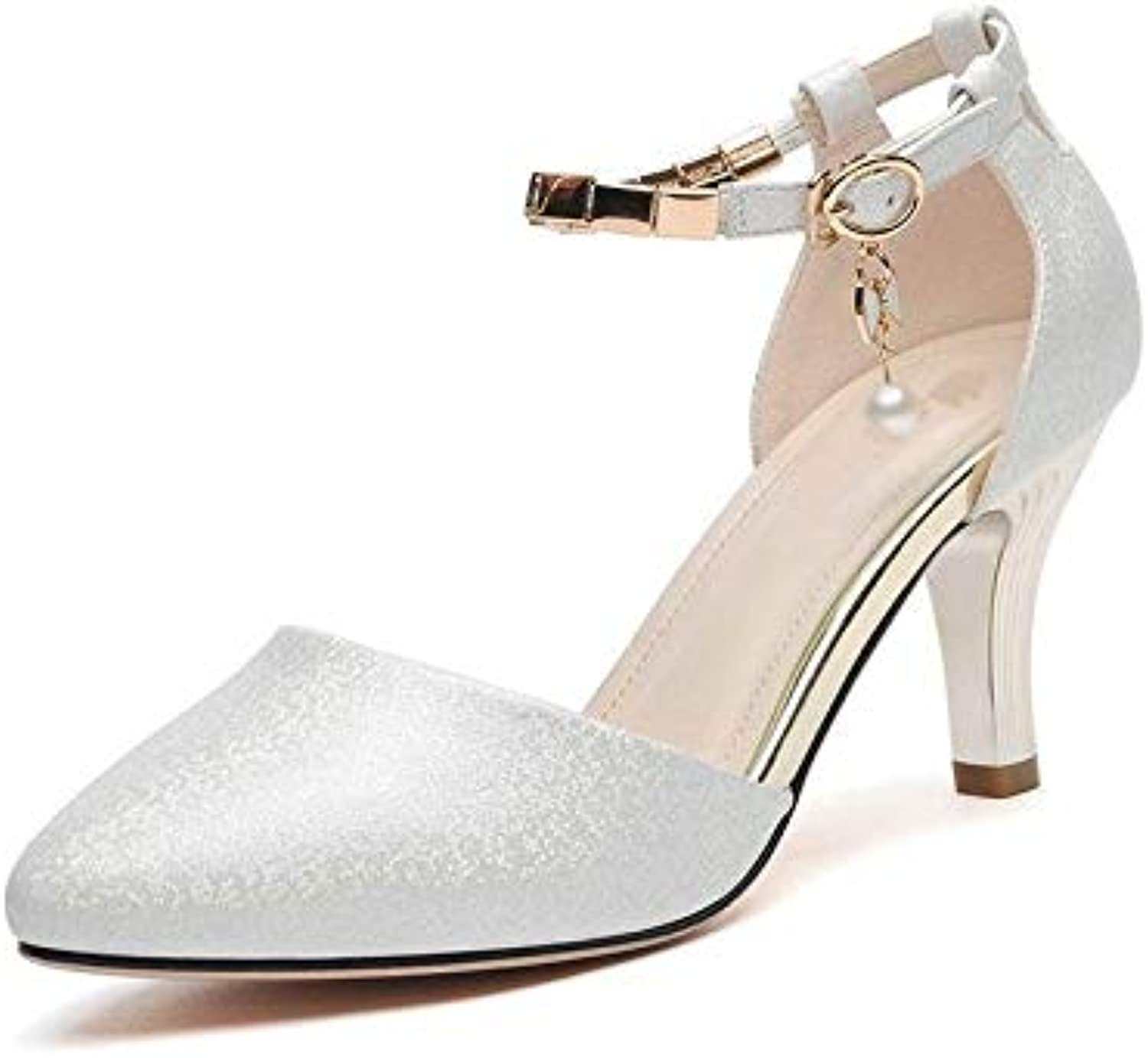 ProDIgal Women's Heels Closed Pointed Party Sandal High Heels Bridal Pump Wedding shoes