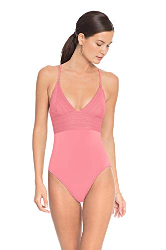 Robin Piccone Women's Lily V Neck One Piece Swimsuit Pink Lemonade 10
