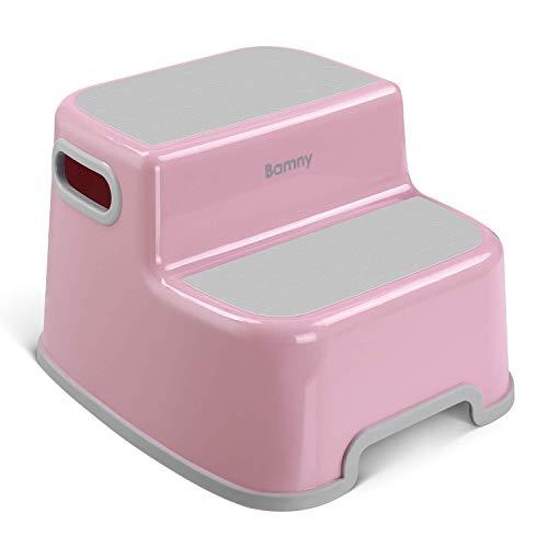 Bamny Tritthocker für Kinder, Zweistufiger Tritthocker, Trittschemel, 2-Stufen-Schemel Pink