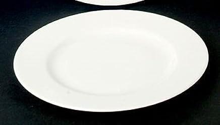 Preisvergleich für 6 Kuchenteller Dessert Teller flach Kasva Weiss 21cm Neu Rund Porzellan 6 Personen