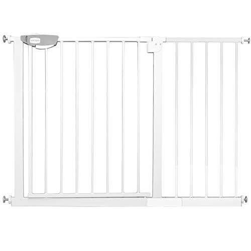 HENGMEI Rejilla de protección para puertas de escaleras sin agujeros, 105 – 115 cm, barrera de protección para bebés, cierre automático, puerta de rejilla de metal para seguridad infantil