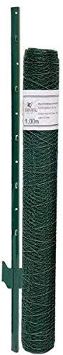 Niederberg Metall Grillage 13x13mm Rouleau 25x1m + 20 Poteaux 140cm Haut Vert