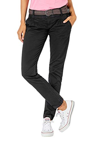 Urban Surface Damen Chino Stoff-Hose mit Flecht-Gürtel Black L