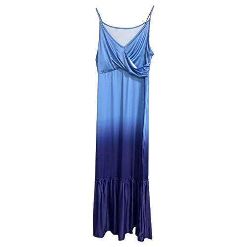 Allence Sommerkleid Damen Strandkleid Blumen Kleid Lange Kleider Ärmellos Spaghetti Verstellbare S-XL