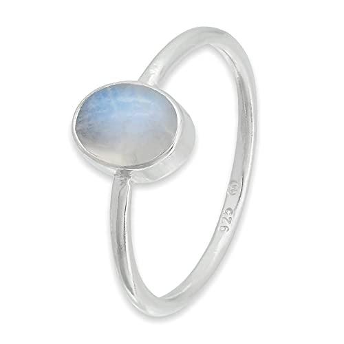 Ring Silber 925 Sterlingsilber Regenbogen Mondstein weiß Stein (Nr: MRI 100), Ringgröße:46 mm/Ø 14.6 mm