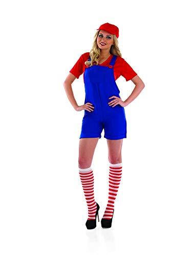 Disfraz de Mario Bros para mujer de fontanero rojo Brother Monos de juego - Rojo - M