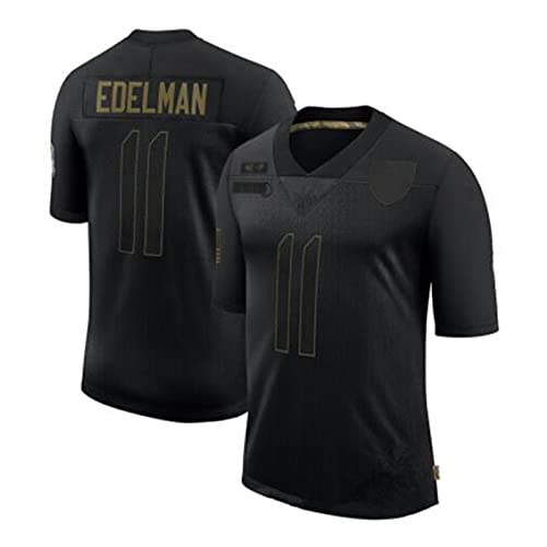 LKJHGFD Edelman # 11 American Football Jersey, 11# Edelman Rugby Jersey, Männer Fans Trikots Schnelltrocknende Sportbekleidung Training T-Shirt Tops Black-XXL