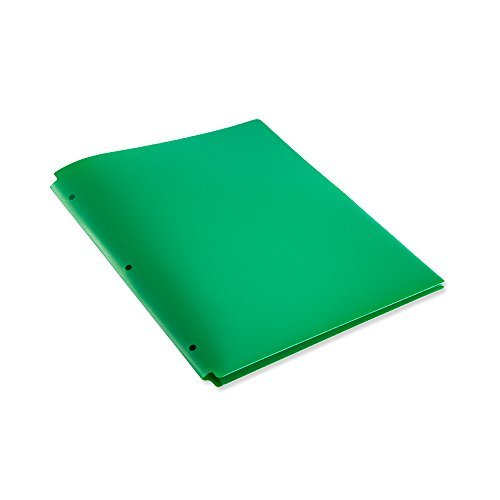 COMIX 2 Pocket Letter Size Poly File Portfolio Folder with 3-Hole Punch - 12 Pack-A2140 (Green)
