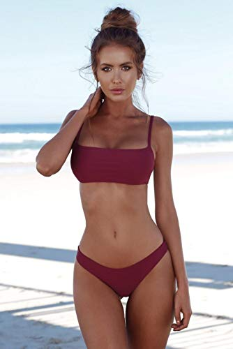 Conjuntos de lencería para Mujer Corsés para Mujer Traje de baño con Correa de Bikini Traje de baño Sexy de Tres Puntos para Mujer Rojo Vino S