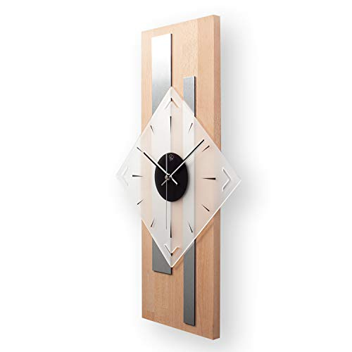 Kreative Feder Moderne Designer Holz Alu Funk Wanduhr leise Funkuhr ohne Ticken 60x30cm WEH001 (Buche, leises Funkuhrwerk)