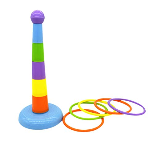 Balacoo Kinder Ring Werfen Wurfspiel Ringspiel Ringwurfspiel mit 8 Wurfringe für Kinder Erwachsene Vogel und Papagei Spielzeug (Zufällige Farbe)