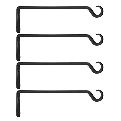 AILIN Premium Hand Forged Straight Hook, Decorative Wall Hook Hanging Plant Bracket, Upgrade Black, for Lanterns, Planters, Wind Chimes, Bird Feeders, 16 Inch, 4 Pack
