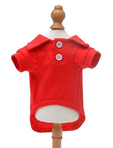 Lovelonglong Basic Dog Polo Shirts Premium Cotton, Polo T-Shirts for Large Medium Small Dogs with a Two-Button Collar Blank Color Red L