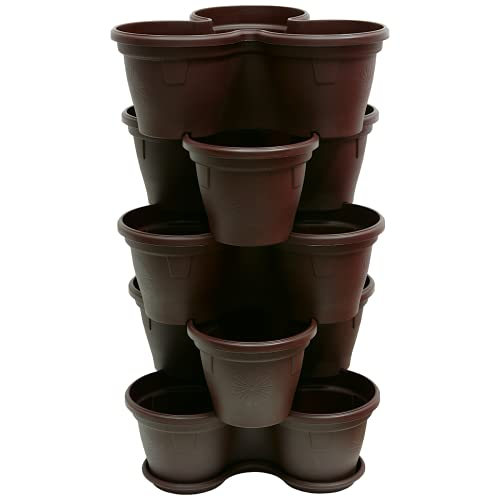 ENGELLAND 5X Blumentopf Säulentopf Pflanzturm Hochbeet Pflanztopf-Kübel mit Untersetzer stapelbar widerstandsfähig Kunststoff Braun