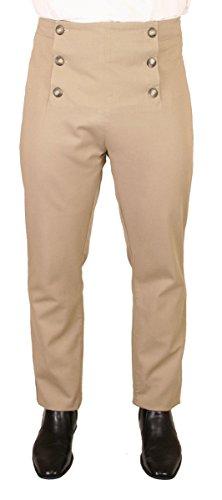 Historical Emporium Men's High Waist Cotton Regency Fall Front Trousers 30 Khaki