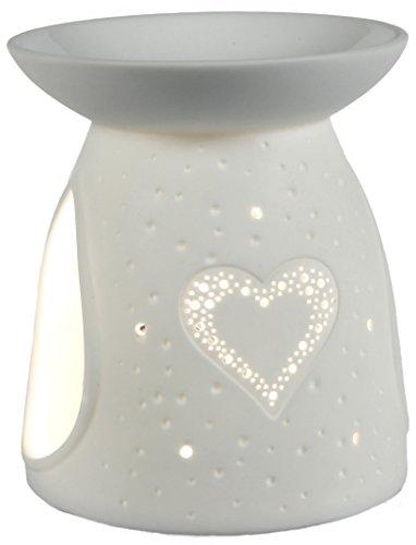 Himmlische Düfte Geschenkartikel GmbH Oilburner Herz Duftlampe, Porzellan, weiß, 10 x 10 x 12 cm