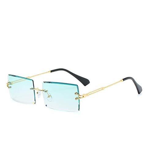 SCAYK Gafas de Sol sin Montura Rectángulo Moda Populares Mujeres Hombres Sombras Pequeñas Gafas de Sol Plaza para Mujer Viajes Marrón Gafas de Sol Moda Ojo Moda (Lenses Color : Gold Green)