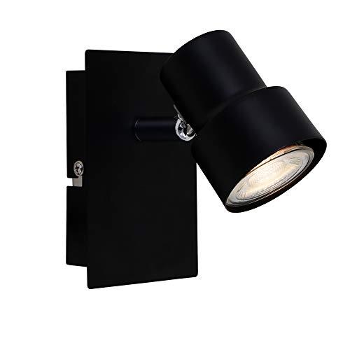 Briloner Leuchten LED Wandspot, Spotleuchte 1-flammig, Strahler dreh- und schwenkbar, 1x GU10, 5 Watt, 460 Lumen, 3.000 Kelvin, Schwarz