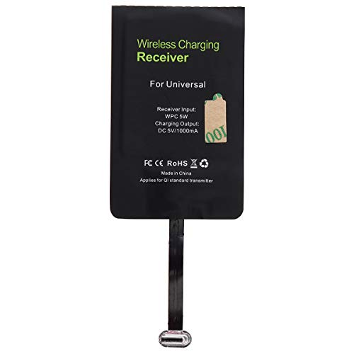 DiGiYes Type C Wireless Charging Receiver, Universal 5V 1000mA USB C QI Wireless Charger Receiver Patch Module Chip for Google Pixel 2 XL, LG V20, OnePlus 6 and Other Type C Android Mobile Phones