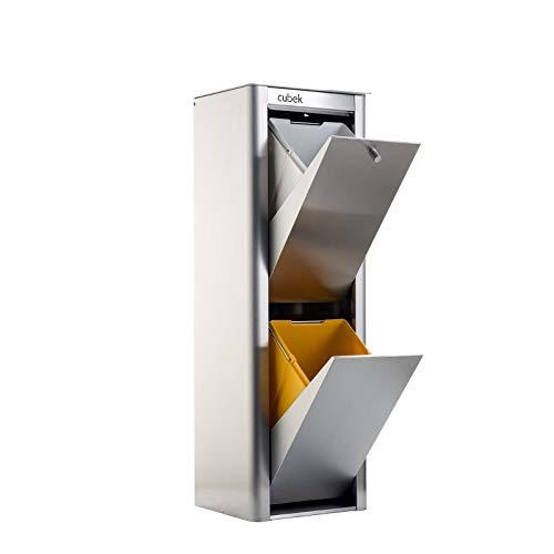 DON HIERRO - Cubo de basura y reciclaje CUBEK Inox 2 compartimentos.