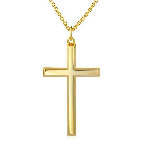 DAOCHONG Männer Kreuz Kette S925 Sterling Silber Männer Kreuz Halskette 14k Gelbgold vergoldet Kreuz Anhänger Halskette für Männer Frauen Gelb Gold Cross,Kette 24 Zoll