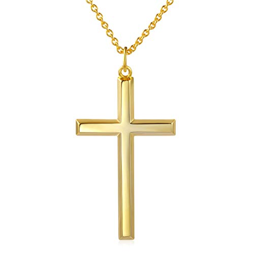 DAOCHONG Männer Kreuz Kette S925 Sterling Silber Männer Kreuz Halskette 14k Gelbgold vergoldet Kreuz Anhänger Halskette für Männer Frauen Yello Gold Cross,Kette 24 Zoll