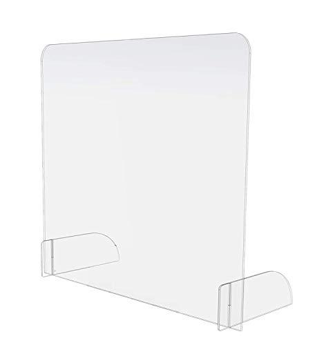 AITK Plexiglas Zuschnitt, Schreibtisch Trennwand, Plexiglas Spuckschutz Mit Durchreiche, Kunststoffglas, Praxis und Apotheke 65x85cm(BxH)