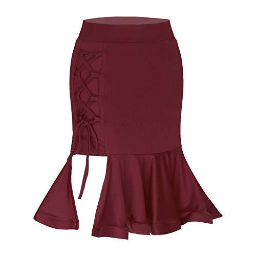 dPois Falda Irregular de Baile Latino para Mujer Falda Corta de Danza Rumba Tango con Volantes Dancewear Vestido de Danza Moderna Burgundy L
