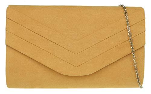 Girly Handbags - Cartera de mano de ante para mujer Amarillo mostaza