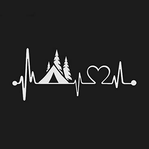 Creative Car Sticker Tent Camper Heartbeat Lifeline Monitor Camping Decal for Automobile Truck Vinyl,8inch (White)
