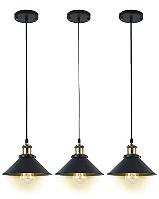 Pendant Light Set of 3,Deep Dream Hardwire Industrial Vintage Lamp Fixture,Bronze Lighting Shade (Without Bulbs)