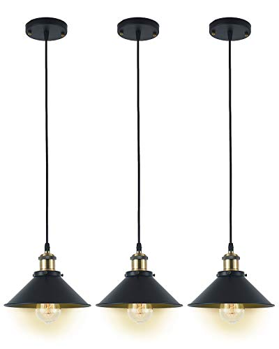 Deep Dream Industrial Pendant Light Shade Vintage Light Fixtures Pendant E26 E27 Base 3 Pack (Without Bulbs)