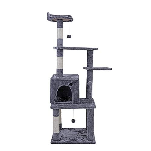 Suministros para mascotas Árbol de gato multinivel con postes de rasguños cubiertos de sisal Muebles de la torre de la hamaca y del condominio de la hamaca y del condominio para la mascota del gatito-