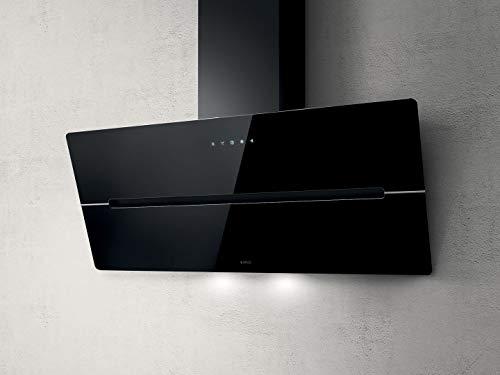 Elica Dunstabzugshaube Wise 90 BK (Umluft/Abluft) schwarz 60cm kopffrei mit LED-Beleuchtung, Randabsaugung, Glas-Front, 4 Motorstufen (max. 850m³/h), sehr leise [Energieklasse B]