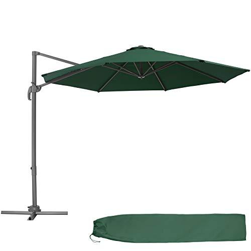 TecTake 800684 - Parasol Excéntrico de Jardín, Mástil de Aluminio con Manivela, Protección UV 50+, 6 Niveles de Inclinación, Ø 300 cm (Verde | No. 403134)