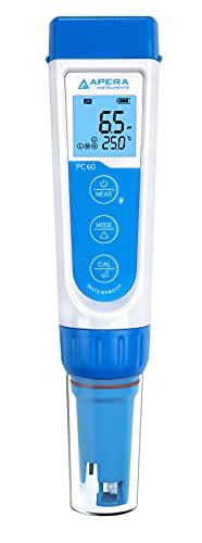 Apera Instruments PC60 Premium multiparámetro 5 en 1 (valor de pH, conductividad/CE, TDS, salinidad, temperatura, precisión de pH 0,01/1%, electrodo reemplazable, resistente al agua)