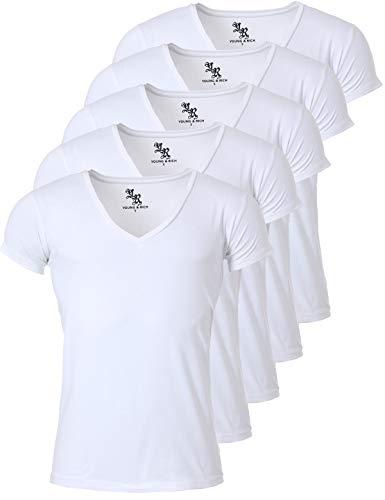 Young & Rich Herren Uni T-Shirt mit extra tiefem V-Ausschnitt Slimfit Stretch Dehnbare Passform einfarbiges Basic Shirt - 5er Pack, Grösse:L, Farbe:Weiß