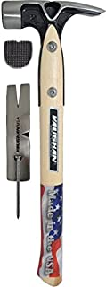 "Vaughan VW20 Douglas Pattern 20 oz. Framing Hammer, milled face, side puller, mag nail set, 17"" straight handle (3800)"