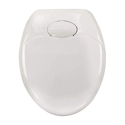 Toiletbril met soft-close-cover, snelsluitingsscharnieren, snelbevestigingstoestellen, past op alle standaard toiletpotten (U-vormig, wit)