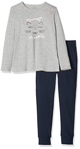 NAME IT Mädchen 13173286 Zweiteiliger Schlafanzug, Mehrfarbig(Grey MelangeGrey Melange), 122