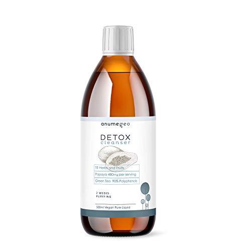 Anumegeo DETOX Cleanser Vegan 11 Kräuter & Früchte. Papaya, Artischocke, Grüner Tee, Guarana- Schlankheitsmittel, Leberreinigend, harntreibend, Antioxidans-Flüssiglösung 500ml Vorrat für 2 Wochen.